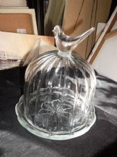 VINTAGE FACETED GLASS DOME WITH SOLID BIRD KNOB CHEESE BUTTER + SCALLOP PLATTER